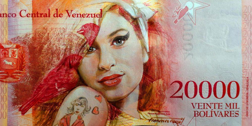 Portrait of singer Amy WInehouse, oil painted on a Venezuelan banknote.