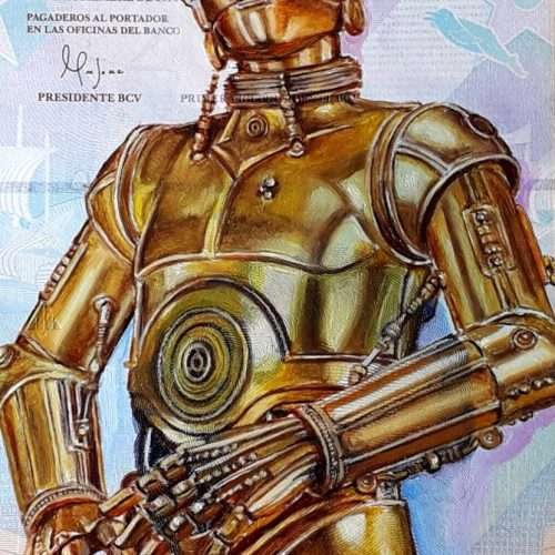 Reproduction of Star Wars character C-3PO, oil painted on a Venezuelan banknote.