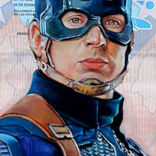 Reproduction of comic character Captain America, oil painted on a Venezuelan banknote.