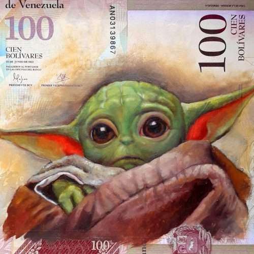 Reproduction of Star Wars character Grogu, oil painted on a Venezuelan banknote.