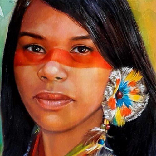 Portrait of Native Venezuelan woman, oil painted on a Venezuelan banknote.