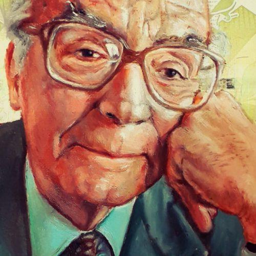 Portrait of writer and Nobel recipient José de Sousa Saramago, oil painted on a Venezuelan banknote.