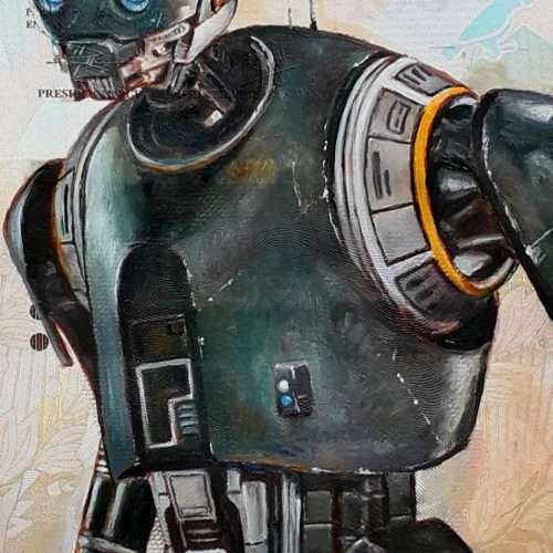 Reproduction of Star Wars character K-2SO, oil painted on a Venezuelan banknote.