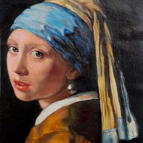 Reproduction of Girl with a Pearl Earring, oil painted on a Venezuelan banknote (after Johannes Vermeer, 1665).