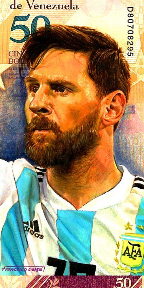 Portrait of footballer Lionel Messi, oil painted on a Venezuelan banknote.