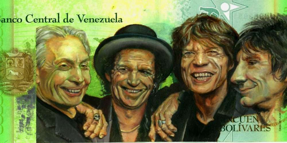 Portrait of music band The Rolling Stones, oil painted on a Venezuelan banknote.