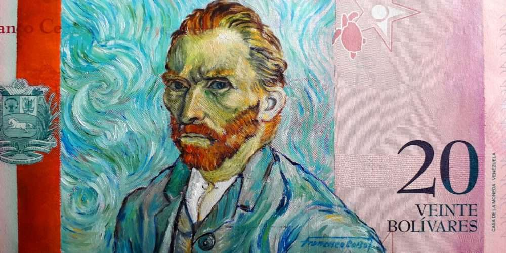 Portrait of artist Vincent Van Gogh, oil painted on a Venezuelan banknote (after self-portrait, 1889).