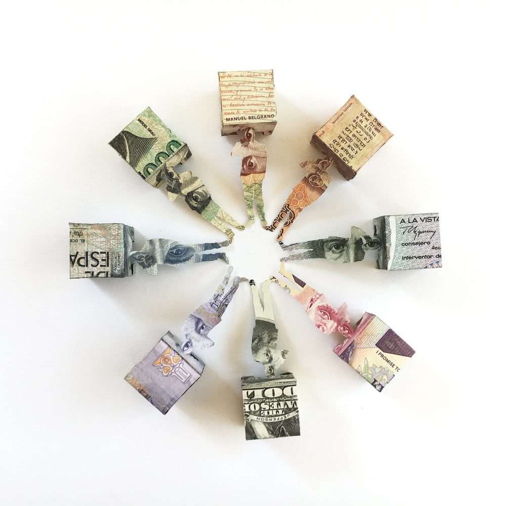 Installation made with cut and folded banknotes from Peru, Italy, Spain, Zambia, Iran, India, Mexico, Argentina and USA.