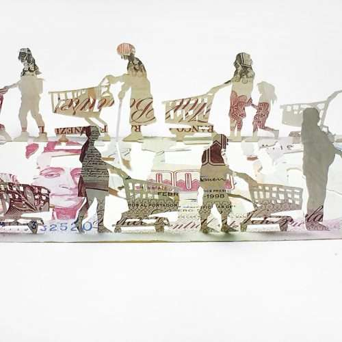 Papercutting depicting people and shopping trolleys, made from 1998 Venezuelan banknote.