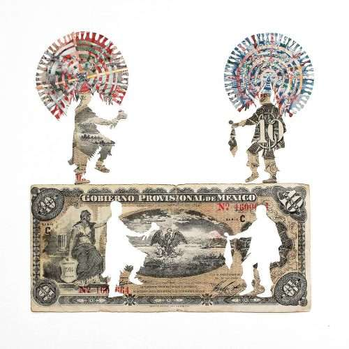Papercutting depicting quetzals made from 1914 Mexican banknote and other banknotes fragments.