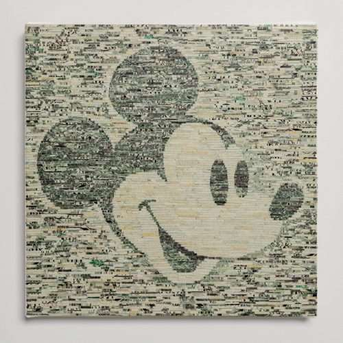 Portrait of Mickey Mouse, made with shredded banknotes on canvas.