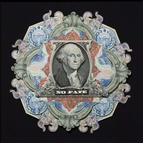 Collage depicting US 1 dollar portrait and banknote elements from various countries.