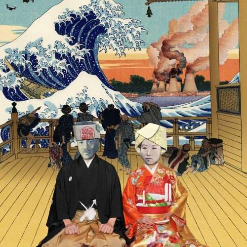 """Folded banknote depicting a men an a women, collage with Katsushika Hokusai's Great Wave Off Kanagawa"""" and nuclear power plant."""