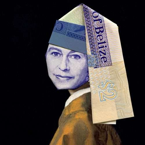 Folded Belize banknote depicting the Queen (above Johannes Vermeer's Girl with a pearl earring, 1665).