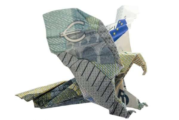 5 Euros banknote folded in a bird shape.