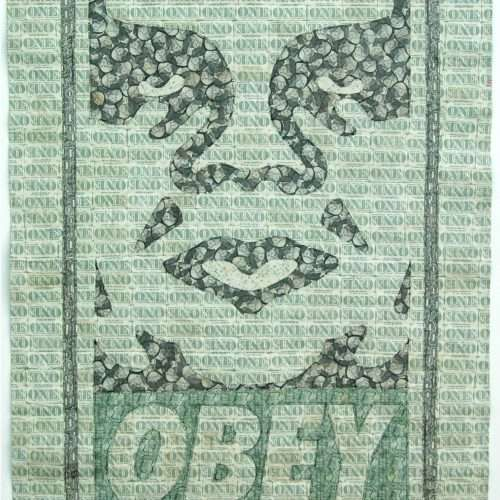 Sewn US currency (after Shepard Fairey's OBEY, 2003).