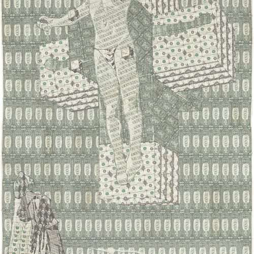 Sewn US currency (after Salvador Dali's Crucifixion, Corpus Hypercubus, 1954).