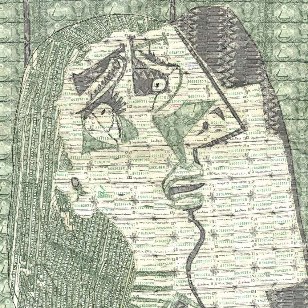 Sewn US currency (after Pablo Picasso's Weeping Woman, 1937).