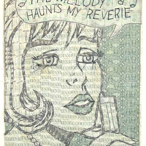 Sewn US currency (after Roy Lichtenstein's The Melody Haunts My Reverie, 1965).