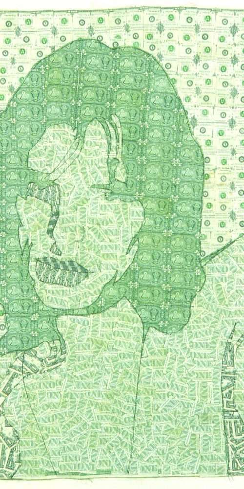 Sewn US currency (after Andy Warhol's Mick Jagger, 1971).