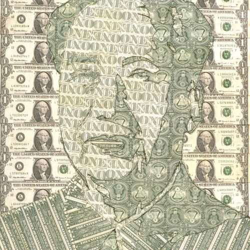 Sewn US currency (after Andy Warhol's Mao, 1972).