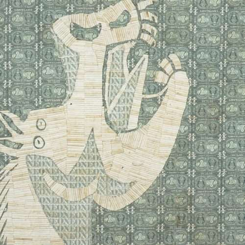 Sewn US currency (after Pablo Picasso's Study for Guernica, 1937).