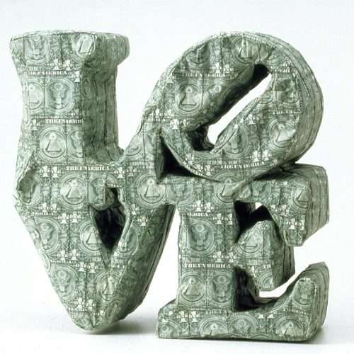 LOVE sculpture made with sewn US currency (after Robert Indiana's Love, 1967).