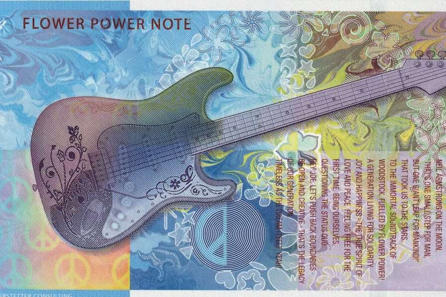 Colourful specimen banknote with a guitar, flowers and text, released by Koenig & Bauer Banknote Solutions.