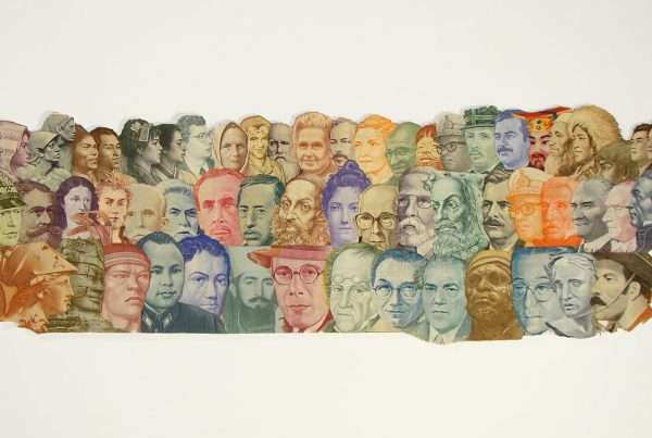 Collage of men and women portraits, made from cut banknotes from various countries.