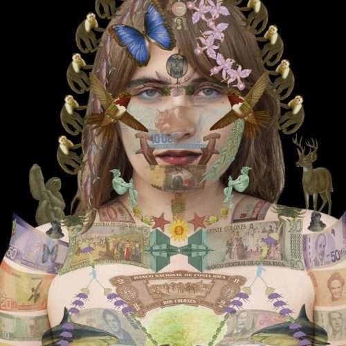 Portrait of a Costa Rican woman on a black background, layered with a collage of Costa Rican banknotes.