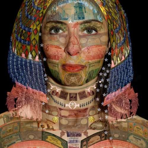 Portrait of a Moroccan woman on a black background, layered with a collage of Moroccan banknotes.