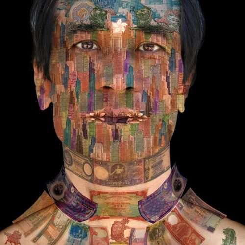 Portrait of a man from Hong Kong on a black background, layered with a collage of Hong Kong banknotes.