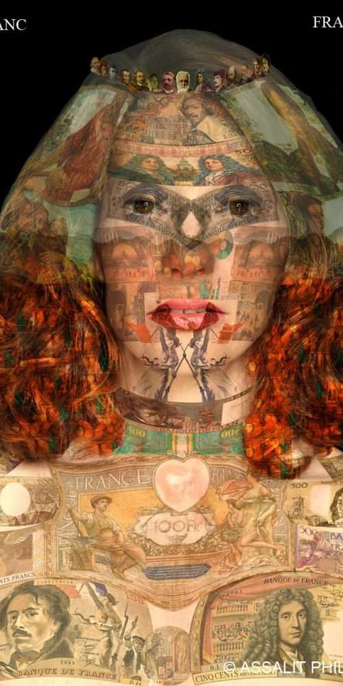 Portrait of a French woman on a black background, layered with a collage of French banknotes.