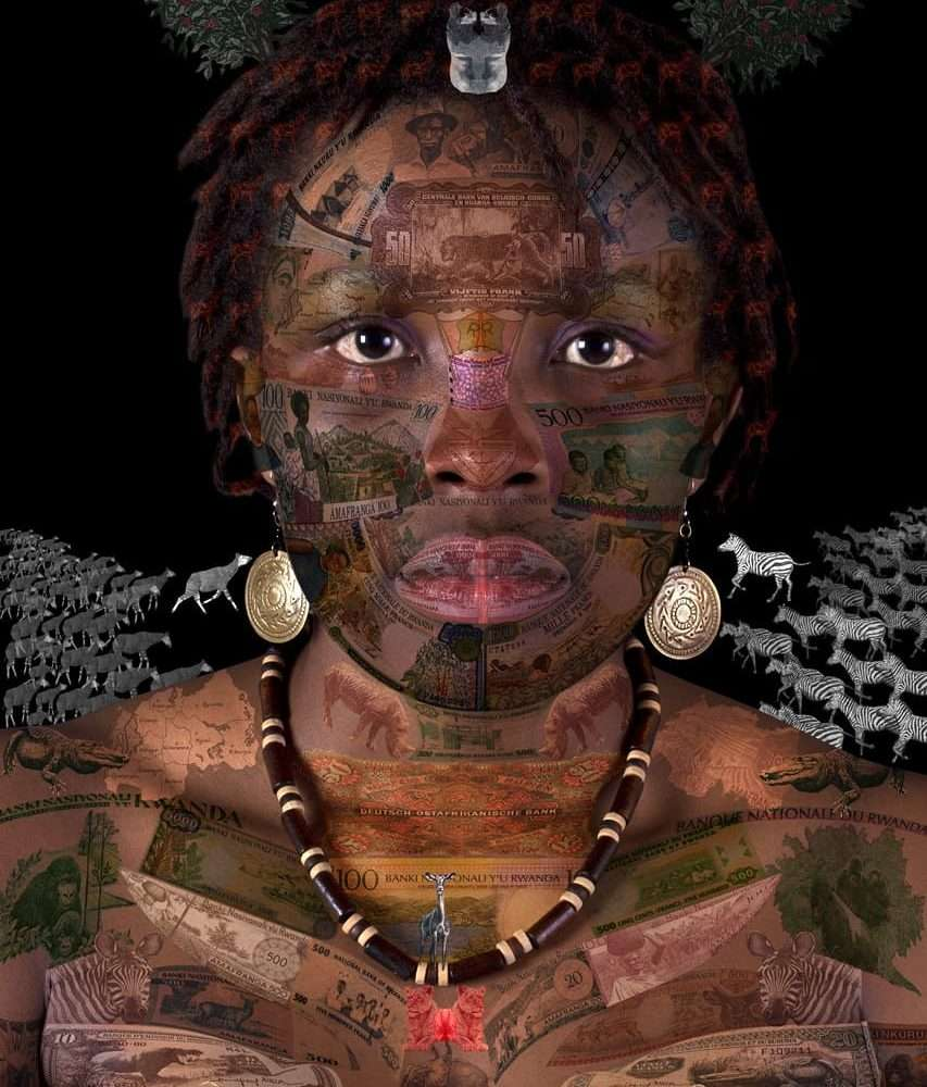 Portrait of a Rwandan woman on a black background, layered with a collage of Rwandan banknotes.