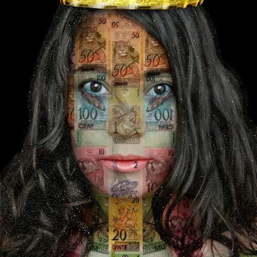 Portrait of a Brazilian woman on a black background, layered with a collage of Brazilian banknotes.
