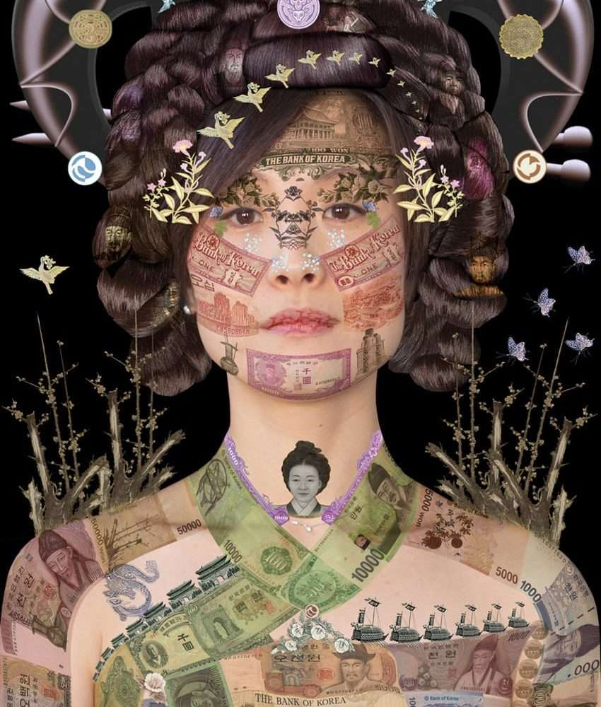 Portrait of a Korean woman on a black background, layered with a collage of Korean banknotes.